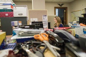 Josh Bergeron / Salisbury Post - Rowan County Board of Elections Employee Jennifer Ward works at her desk in the county's administration building. The Board of Elections is preparing for a move to a new office at the West End Plaza.