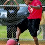 With determination on his face, Aaron Holsey, sends the force of his right foot into the incoming kickball. Jon C. Lakey/Salisbury Post
