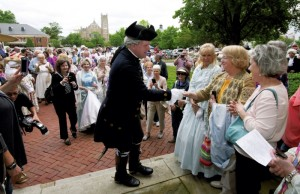 Lynn Bull as George Washington arrives in Salisbury to greet the citizens at the Rowan Public Library. The Rowan Museum Inc. has spent months making preparations for Saturday's celebration of the 225th anniversary of the visit to Salisbury by the first president of the United States.  JON C. LAKEY / SALISBURY POST