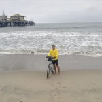 Freeze dipped the back tire of his bicycle in the Pacific Ocean at the Santa Monica Pier on Wednesday morning. He'll dip the front tire in Lake Michigan to complete the ride. Photo courtesy of David Freeze