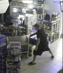 Rowan Sheriff's investigators are looking for this burglary suspect at Mikey's One Stop where the flip flop wearing man used a cement block to break a glass door. Submitted photo