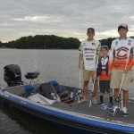 Grayson Whicker, Ben Bauer and Bobby Bauer are headed to Tennessee in August to compete in the Bassmaster High School Championship and Junior Championship.  Photo by Susan Shinn