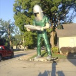 The Gemini Giant is an iconic Route 66 figure in Waynesville, Illinois. Freeze saw him early Tuesday morning. The helmet was supposed to be an early astronaut's headgear. Photo by David Freeze
