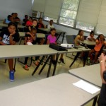 Between basketball drills in the gym, campers heard some physical fitness and nutrition advice from Edna Gillespie in a classroom across the hall.  Mark Wineka/Salisbury Post