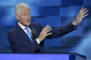 Former President Bill Clinton speaks during the second day of the Democratic National Convention. AP photo