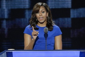 First Lady Michelle Obama speaks during the first day of the Democratic National Convention in Philadelphia. AP photo