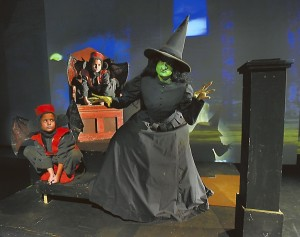 Sara Richard (Wicked Witch) and the Flying Monkeys (Ellie Cardelle in front left and Mary  Grace Cardells, in back. photo by Wayne Hinshaw, for the Salisbury Post