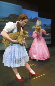 Graham Harrington (Dorothy) shows her red shoes to  Morgan Austin (Glenda) in PPT's 'The  Wizard of Oz.' Photo by Wayne Hinshaw, for the Salisbury Post
