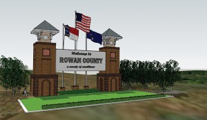 County Commissioners want to place entrances signs to Rowan on I-85. This rendering shows what one sign might look like. Rendering by Bill Burgin, architect