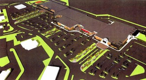 Submitted photo - An architecture firm hired by Rowan County Commissioners has proposed that West End Plaza's parking lot be filled by green spaces and a walkway as part of a renovation project.