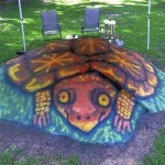 At the request of Brenda Sutton, Salisbury street artist Joe Heilig painted a box turtle on this rock outcropping along Fraley Street in the town of Faith.   Submitted photo
