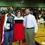 Rowan-Salisbury School System Superintendent Dr. Lynn Moody, center, poses with 2015 Teacher of the Year Anthony Johnson, left, from Isenburg Elementary School, and Principal of the Year Jamie Durant, right, from West Rowan High School. The awards were presented during the back to school conference held Tuesday at South Rowan High School. Jon C. Lakey/Salisbury Post