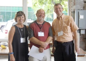 Amanda Raymond/Salisbury Post Dottie Leatherwood, Larry Ruddlech and Scott Boyle were the top three winners for the NC Open Plein Air Paint Out event that allowed plein air painters to paint all over Rowan County this weekend.