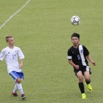 David Zhang, right, plays soccer for North Hills Christian School. David is an international student from Dongguan, China. Submitted photo