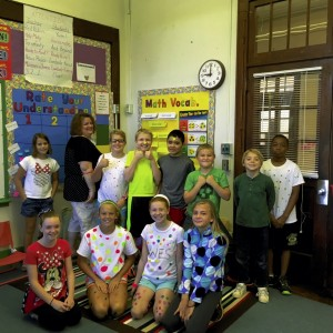 Students at Woodleaf Elementary show off their dots on International Dot Day. Submitted Photo
