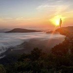 Kyle Shores taking in the sunrise at McAfee Knob in Virginia. Submitted photo