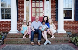 The Jones family, left to right: Lucy, Macy, Kevin, Judah, Cybil and Ella. The family lives in Spencer.
