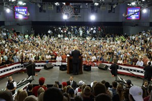Republican presidential candidate Donald Trump speaks during a campaign rally at High Point University, Tuesday, Sept. 20, 2016, in High Point, N.C. (AP Photo/ Evan Vucci)