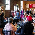Lara Trump, the daughter-in-law of Republican presidental candidate Donald Trump, speaks to those who attended her stop at Morgan Ridge Rail Walk in Salisbury on Wednesday. Jon C. Lakey/Salisbury Post