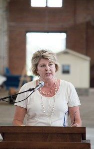 Josh Bergeron / Salisbury Post - N.C. Transportation Museum Director Kelly Alexander on Wednesday speaks during a press conference to announce the receipt of new state funds for renovation projects.