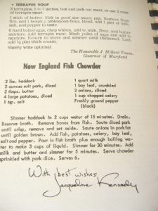 Brenda Zimmerman/For the Salisbury Post Jackie Kennedy took the time to contribute a traditional New England fish stew.