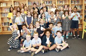 The Sacred Heart Catholic School Summer Super Stars pose for a photo Tuesday. Many of them participated in the Rowan Public Library Summer Reading Program. Submitted photo