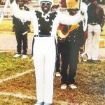Bishop Dennis V. Proctor performing drum major duties at Livingstone College 40 years ago. Submitted photo