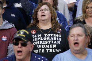 Supporters of Republican presidential candidate Donald Trump cheer as he speaks during a campaign rally, Monday, Oct. 10, 2016, in Ambridge, Penn. (AP Photo/ Evan Vucci)