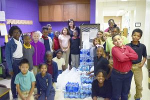 After learning about the devestation caused by Hurricane Matthew in Florida and eastern North Carolina, Kristina Sheets' fourth grade class at North Rowan Elementary stepped up to help. The class collected water and canned goods for a week, and this week has asked the rest of the school and the community to help, as well. Rebecca Rider/Salisbury Post