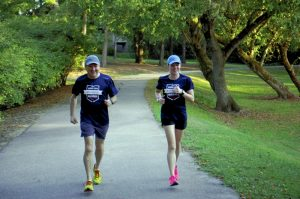 Gary Burleyson and daughter Tara Smith train in preparation for the Marine Corps Marathon, which takes place Oct. 30. Mark Wineka/Salisbury Post