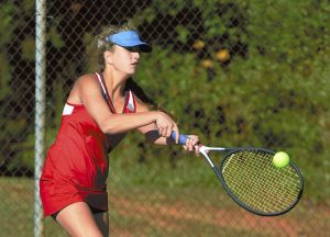 Wayne Hinshaw/for the Salisbury Post ... East Rowan's Mia Graham, won her match at No. 4 singles and teamed with Kristen Brady to win at No. 3 doubles on Tuesday against Forestview.