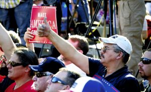 A man gives a thumbs-up — a sign often given by Republican presidential candidate Donald Trump — at a rally held Monday at Catawba College and headlined by Trump's running mate, Mike Pence. Jon C. Lakey/Salisbury Post