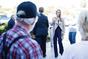 Josh Bergeron / Salisbury Post - Lara Trump, the daughter in law of Republican presidential nominee Donald Trump, walks into an event on Friday at Thelmas Down Home Cooking in Salisbury.