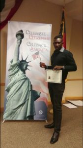Submitted photo This shaky photo is Belony Joseph's only memento of getting his citizenship in September.