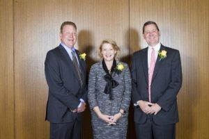 Appalachian State University Chancellor Sheri N. Everts, center, congratulates E. Hayes Smith, left, and his brother D. Kenan Smith, right, as recipients of the university's Outstanding Service Award during a recent Homecoming 2016 luncheon. The two Salisbury residents are business partners at Second Creek Development Co., and they are Appalachian State University alumni. Submitted photo