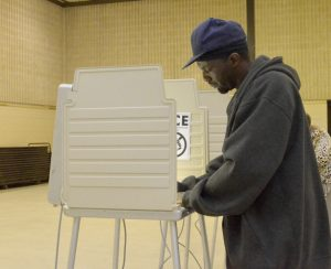 Marcus Thompson casts his ballot Tuesday morning at the Salisbury Civic Center. He said he hadn't followed the campaigns closely, but he felt it important to make his vote count. Shavonne Walker/Salisbury Post