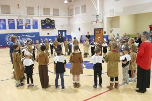 Submitted photo The Pilgrims and Native Americans of Salisbury Academy's first and third grades join together for a Thanksgiving blessing.