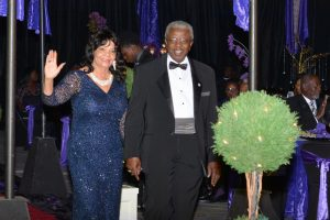 Livingstone First Lady Dr. Faleese Moore Jenkins, right, and Livingstone College President Dr. Jimmy R. Jenkins, Sr., left, enter Livingstone's Royal Endowment Gala Saturday. Submitted photo