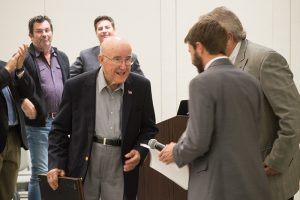 Kannapolis historian Norris Dearmon on Nov. 14 accepts the Order of the Long Leaf Pine award from members of the Kannapolis City Council. Dearmon has lived in Kannapolis for a majority of his life and has been an important source of the town's history. Josh Bergeron / Salisbury Post