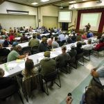 A large group listens to Rockingham County Sheriff Sam Page speak about the law enforcement side during a discussion Wednesday about hemp production, which is currently illegal without a permit. Jon C. Lakey/Salisbury Post