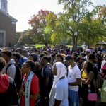 Hundreds of students turned out for Livingstone College's annual march to the polls. Jon C. Lakey/Salisbury Post