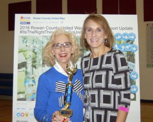 Amanda Raymond/Salisbury Post Penny Greer-Link (right) presented Martha Bostian with the Jackie Award for this year's Rowan County United Way fundraising campaign season because of Bostian's enthusiasm and hard work.
