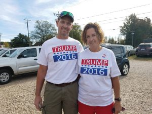 Josh Bergeron / Salisbury Post - Robert and Laura Miller, who live in the Atwell community, wore matching T-shirts on Tuesday to cast a vote for Republican presidential candidate Donald Trump.