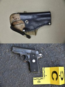 FILE - This combination of photos provided by the Charlotte-Mecklenburg Police Department on Sept. 24, 2016 shows an ankle holster, top, and gun which police say were in Keith Scott's possession at the time he was fatally shot by police in Charlotte, N.C., on Sept. 20.