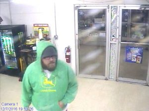 This man, believed to be Bryan William Gibson, of Salisbury, was captured on security camera footage at Ron's Quick Grocery in Enochville just before a Wednesday robbery at the store.
