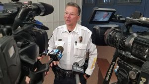 Josh Bergeron / Salisbury Post - Salisbury Police Chief Jerry Stokes speaks to reporters on Friday after an emergency agreement passed the city council and county commission.