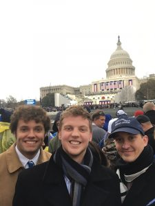 Submitted photo — Salisbury natives Chris Norris, Brian Hancock and Lumble Humble pose for a picture before the presidential inaguration on Friday. The trio got up at 3 a.m. on Friday in order to get good seats for the ceremony.