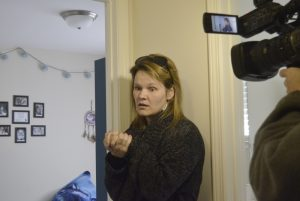 Susan Tovar talks about how burglars came into her family's home Wednesday night and took items including her purse, cash, a video game console and other belongings. The burglars tracked muddy footprints upstairs including in her daughter's bedroom. She heard one of the suspects kick in the door and called 911. Shavonne Walker/Salisbury Post