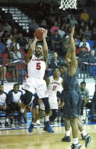 Wayne Hinshaw/for the Post ... Catawba senior Rakeen Brown closed out his home career at Goodman Gym with 19 points.
