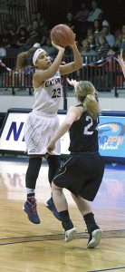 Wayne Hinshaw/for the Salisbury Post ... Catawba senior Bri Johnson (23) played her final home game at Goodman Gym on Saturday and led the team with 20 points.
